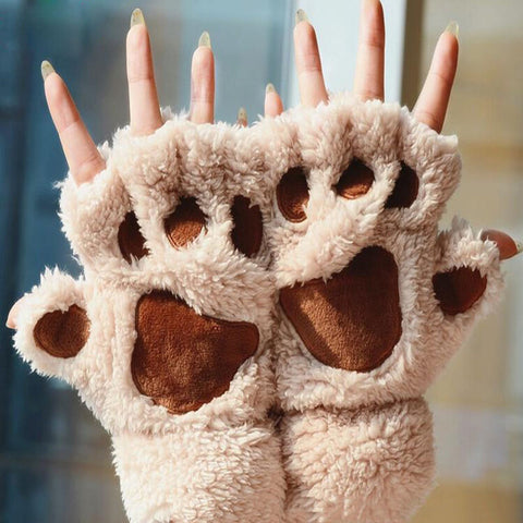... Plush Cat Paw Claw Mittens - Fingerless Glove Style Costume ... & Plush Cat Paw Claw Mittens - Fingerless Glove Style Costume ...
