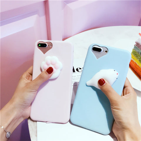 huge selection of ddf9b 7e5ed Squishy Cat Paw iPhone Case in Pink - 3D Silicon - All Models from 5 ...
