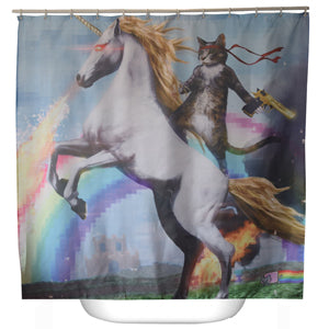 Cat Hero On A Unicorn Shower Curtain With Hooks
