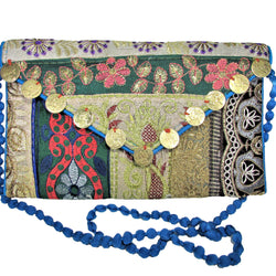 Unique Handmade Bag Green, Brown & Old Gold Embroidered Clutch Purse w/ Strap