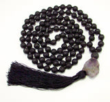 Anxiety Relief 108 Japa Mala Natural Stones Lava Rock Raw Amethyst Hand-Knotted w/ Guru Bead & Silk Tassel Yoga Meditation Necklace Handcrafted💕