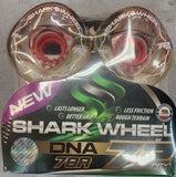 72MM Shark Wheels Clear w Red Hub