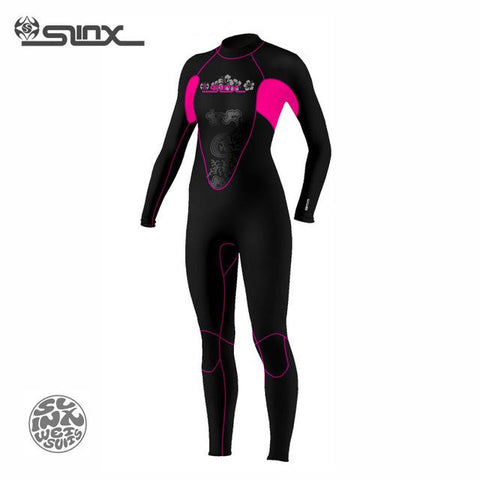 Women's 3MM Full Wetsuit Black & Pink Slinx brand