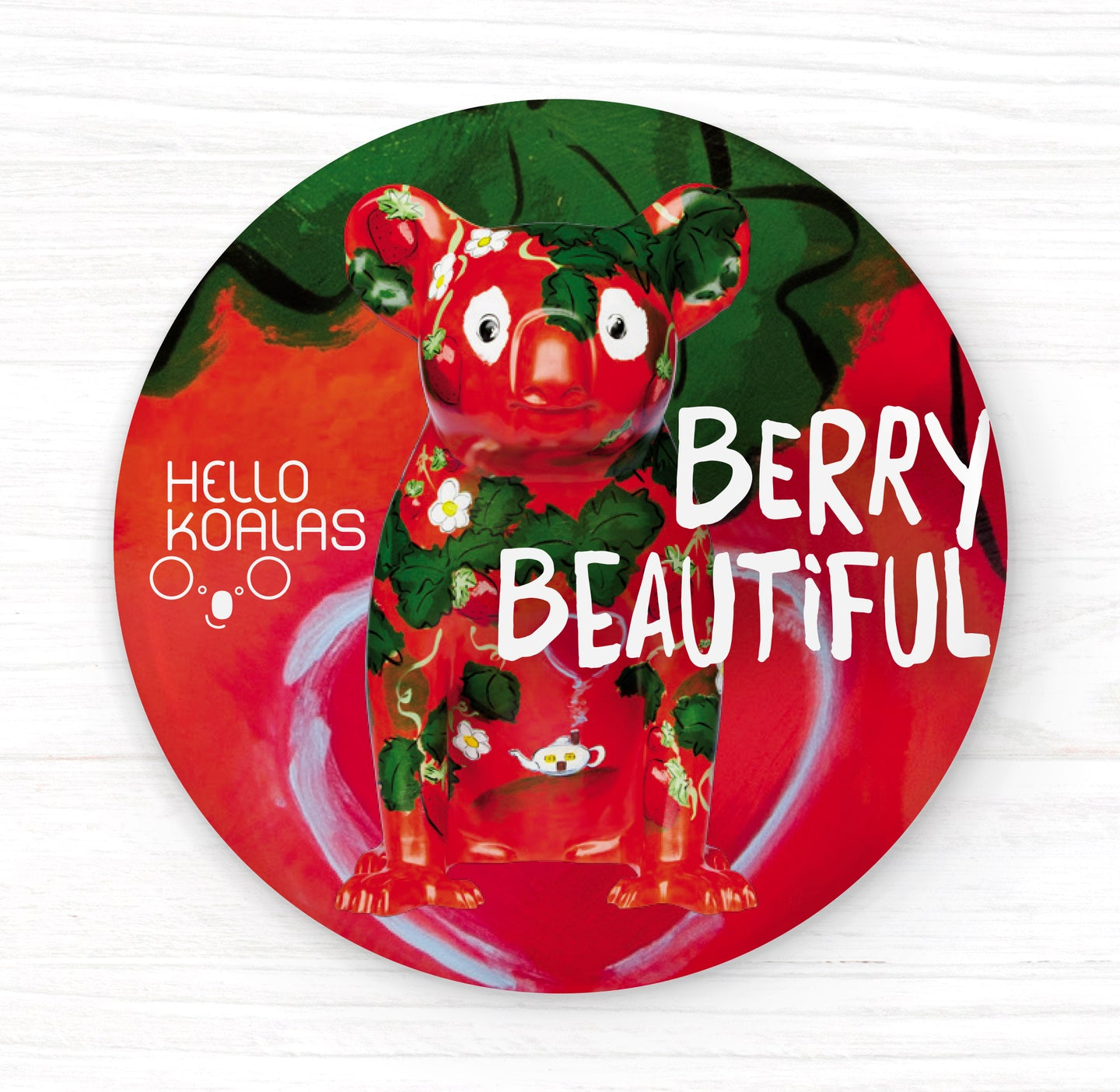 Hello Koalas Beautiful Berry Badge