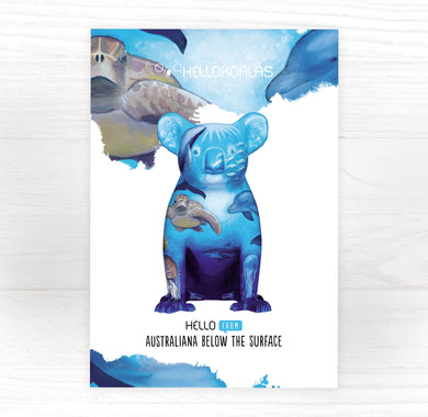 Hello Koalas Australiana Below the Surface Down Under Postcard