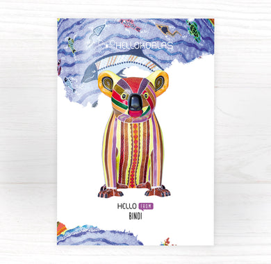 Hello Koalas Bindi Postcard