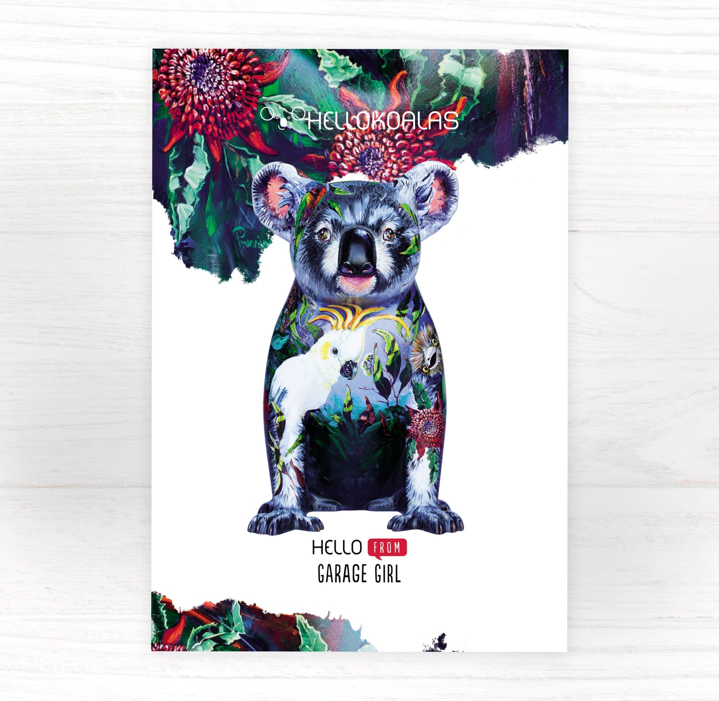 Hello Koalas Garage Girl Postcard