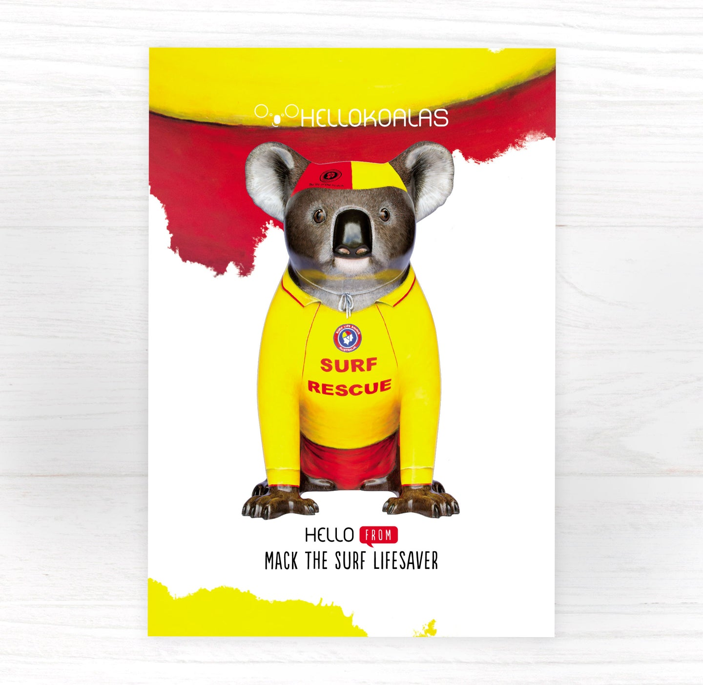 Hello Koalas Mack the Surf Lifesaver Postcard