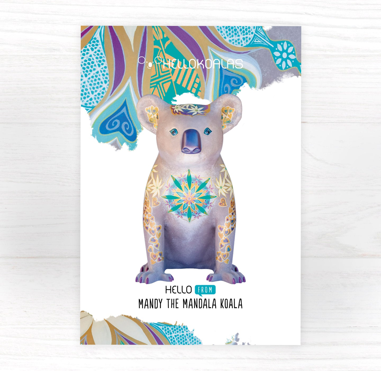 Hello Koalas Mandy the Mandala Postcard