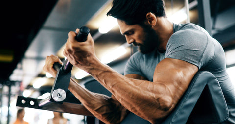 man working out arms