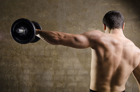Man lifting weight with arm