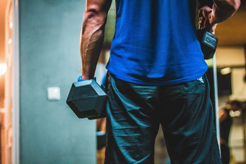 Man in a blue shirt holding two dumbells.