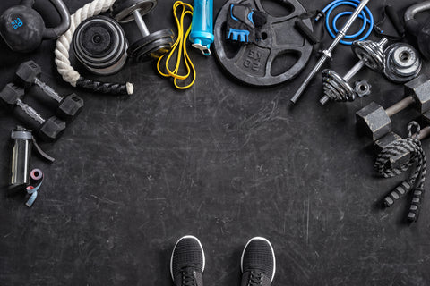 Sports equipment on a black background.