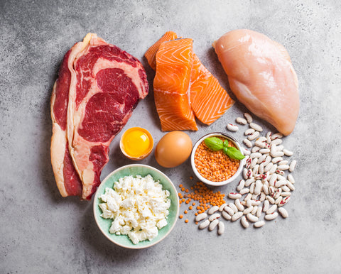 Assortment of natural sources of protein from food