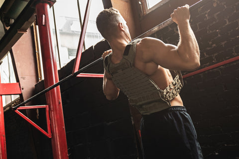Man doing pull up exercise
