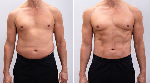 Portrait Of A Mature Man Before And After Weight Loss On White Background