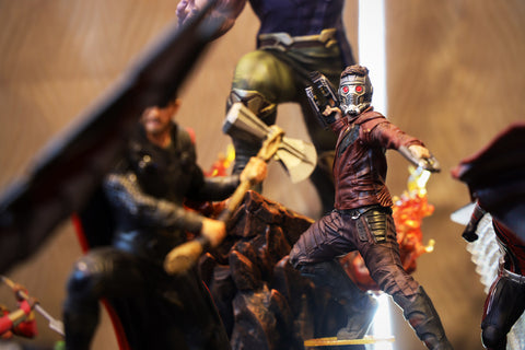 Closeup Star lord Statue Figure Model on display
