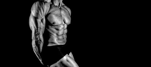 a bodybuilder doing a side triceps pose