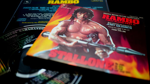 Cover and cd of the soundtrack of Rambo 2