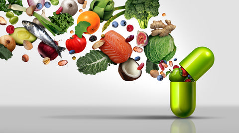 Nutritional supplement and vitamin supplements as a capsule with fruit vegetables nuts and beans inside a nutrient pill