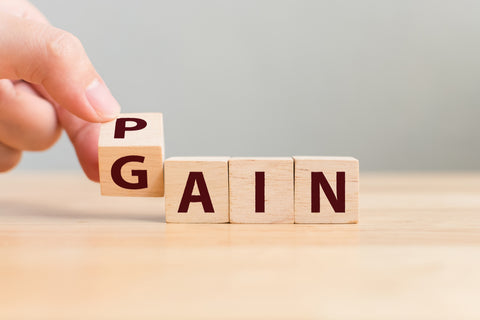 Pain or Gain concept, Hand flip wood cube change the word
