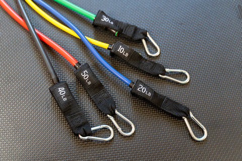 Close up of exercise resistance bands of various colors and weighted pound resistance