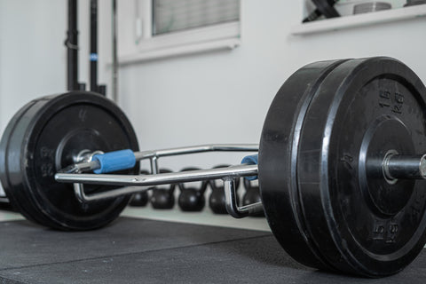 trap bar on the ground for strength training
