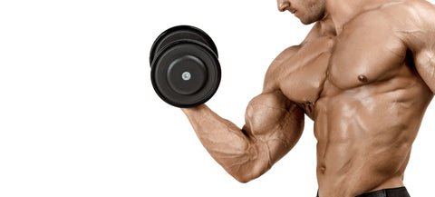 A muscular male with an ideal physique does biceps exercises