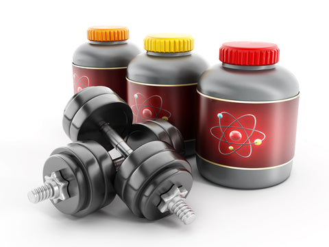 Dietary supplement bottles with dumbells.