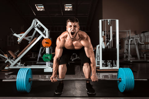 man getting ready to deadlift