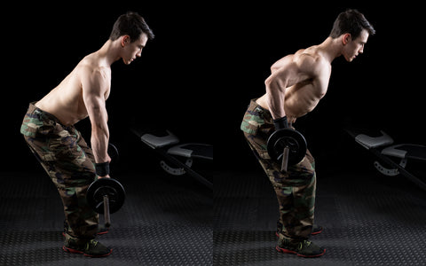 Barbell bent over row exercise