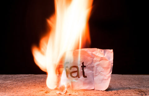 Burning crumpled paper with the word fat written on it
