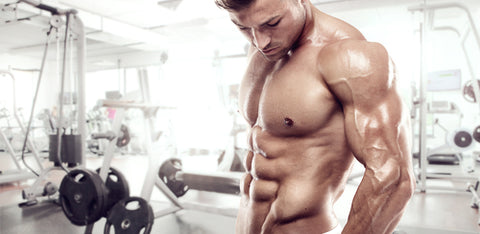 muscular man with six pack abs