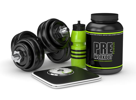 3d render of pre-workout powder with dumbbells, scale and drink bottle isolated over white background