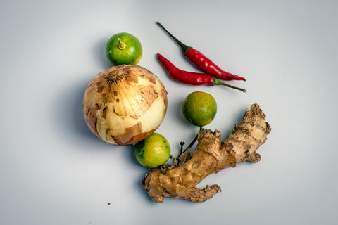 A selection of ginger and chili.