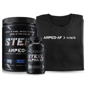 Steel Supplements Stack w/Shirt Blitz Berry / Small Amped-AF > Crack Bundle