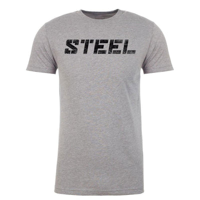 The Steel Supplements Promo Large Promo - STEEL Shirt - Heather Grey with Black Logo