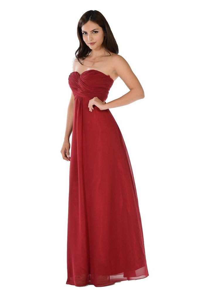 Chiffon burgundy strapless dress/Bridesmaid floor length gown/