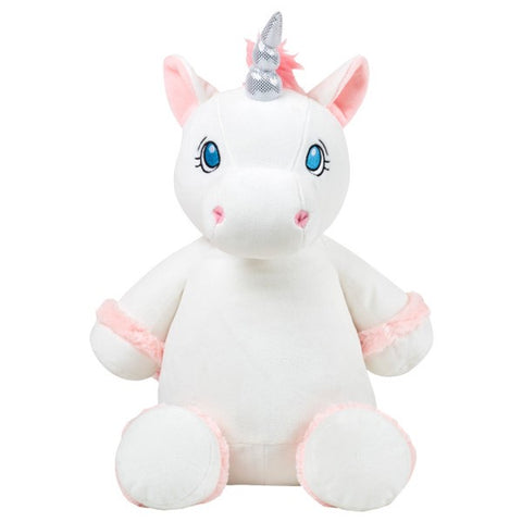 Pink white silver unicorn, can be monogram