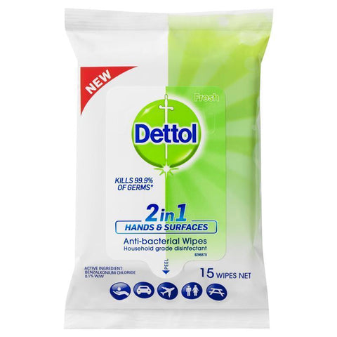 Dettol Hands and Surface Wipes 15pk 2 in 1 Antibacterial