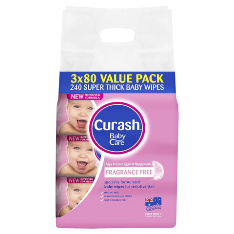 Curash Fragrance Free Baby Wipes 3 x 80 Value Pack