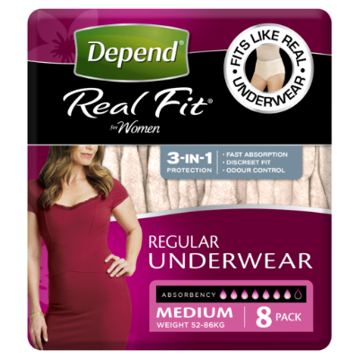 Depend Real Fit For Women Medium Underwear 8ea