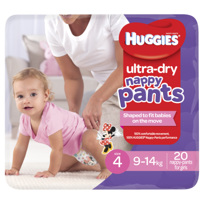 Huggies Ultra Dry Nappy Pants Girls 9-14kg Toddler 20ea