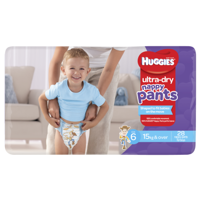 Huggies Nappy Pants Ultra Dry Nappy Pants Boys 15kg & Over Junior 28ea