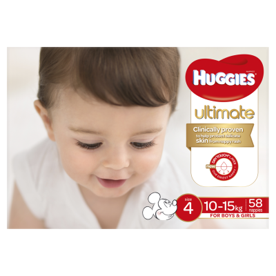 Huggies Ultimate Nappies Boys & Girls 10-15kg Toddler 58ea