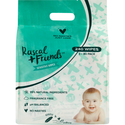 Rascal and Friends Sensitive Wipes 240pk