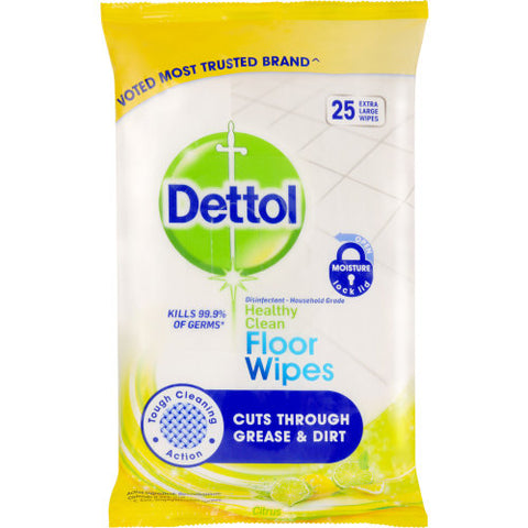 Dettol Antibacterial Cleaning Floor Wipes Citrus 25pk