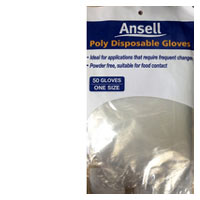 Ansell Gloves Poly Disposable 50pk