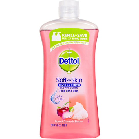 Dettol Antibacterial Foaming Hand Wash Rose & Cherry refill 500ml