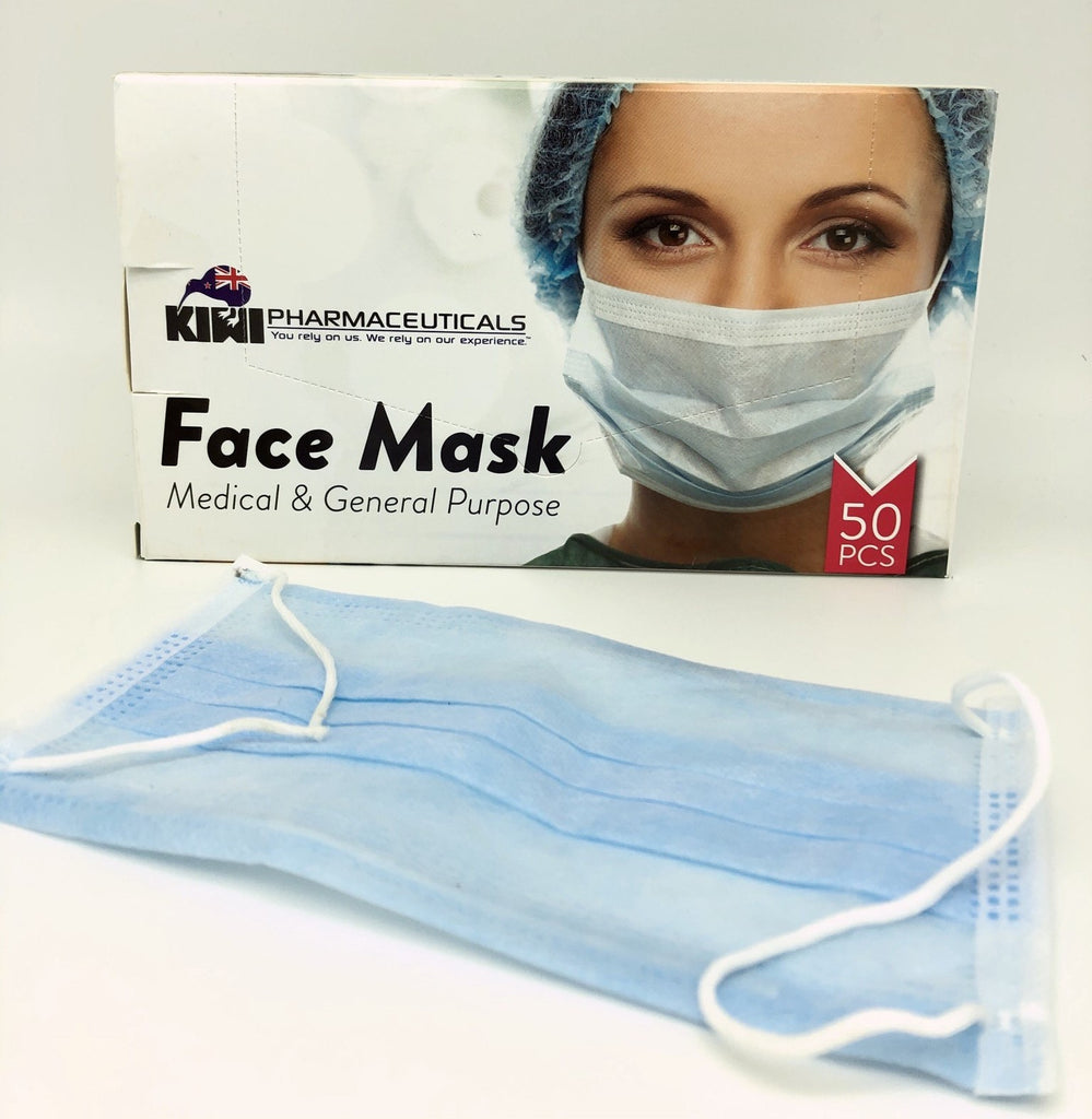 Kiwi Pharmaceuticals Medical & General Purpose Face Mask - 50 PCS